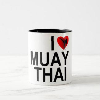 Amo tailandés de Muay Taza De Café De Dos Colores