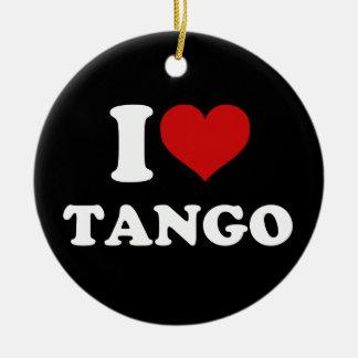 Amo tango adorno navideño redondo de cerámica