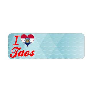 Amo Taos, Missouri Etiquetas De Remite