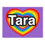 Amo Tara. Te amo Tara. Corazón Tarjeta Postal