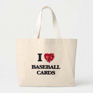 Amo tarjetas de béisbol bolsa tela grande