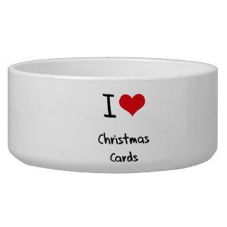 Amo tarjetas de Navidad Tazones Para Perrros