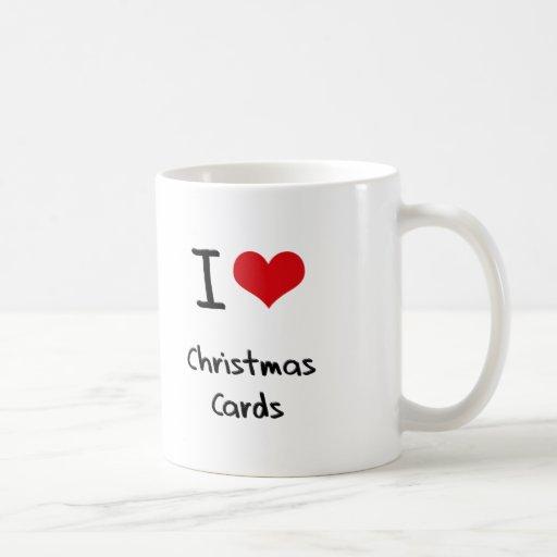 Amo tarjetas de Navidad Tazas