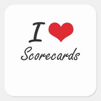 Amo tarjetas de puntuación pegatina cuadrada