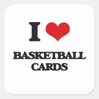 Amo tarjetas del baloncesto pegatina cuadrada