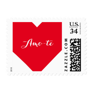 Amo-te I Love You Portuguese Heart Postage Stamp