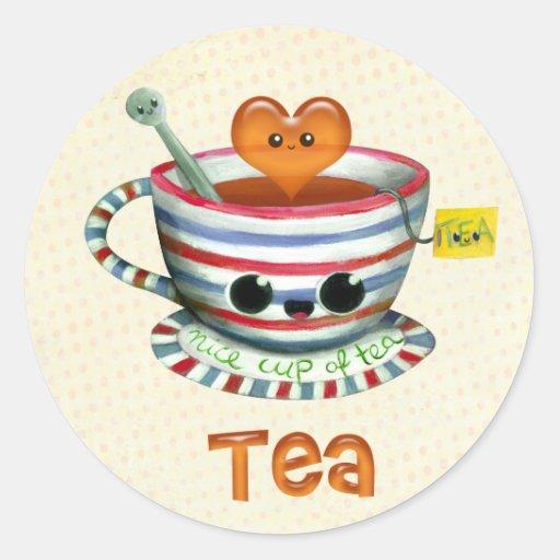 Amo té pegatina redonda