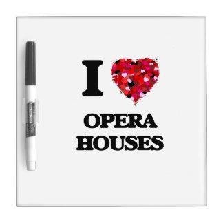 Amo teatros de la ópera pizarra blanca