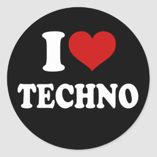 Amo Techno Pegatina Redonda