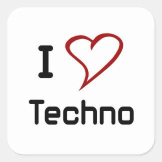 Amo Techno Pegatina Cuadrada