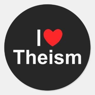 Amo teísmo (del corazón) pegatina redonda