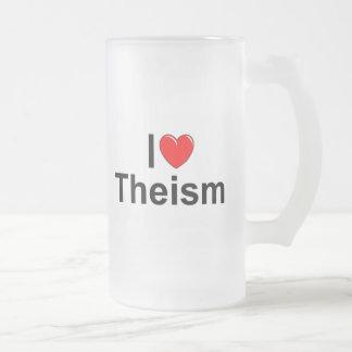 Amo teísmo (del corazón) taza de cristal