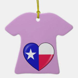 Amo Tejas - corazón del Texan patriótico Ornamento Para Arbol De Navidad