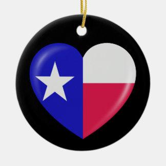 Amo Tejas - corazón del Texan patriótico Adorno De Navidad