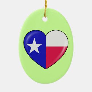 Amo Tejas - corazón del Texan patriótico Ornamentos De Reyes
