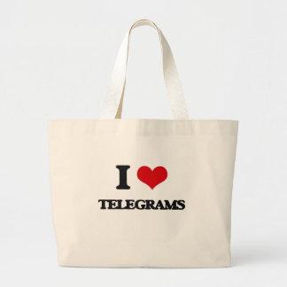 Amo telegramas bolsa tela grande