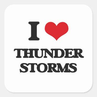 Amo tempestades de truenos pegatina cuadrada