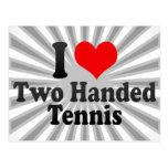 Amo tenis ambidextro tarjeta postal