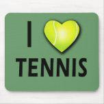 Amo tenis con el corazón de la pelota de tenis alfombrilla de ratones
