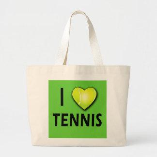 Amo tenis con el corazón de la pelota de tenis bolsa tela grande