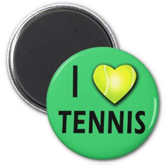 Amo tenis con el corazón de la pelota de tenis imanes para frigoríficos