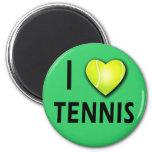 Amo tenis con el corazón de la pelota de tenis imán redondo 5 cm