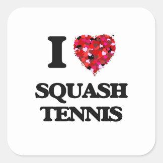 Amo tenis de la calabaza pegatina cuadrada