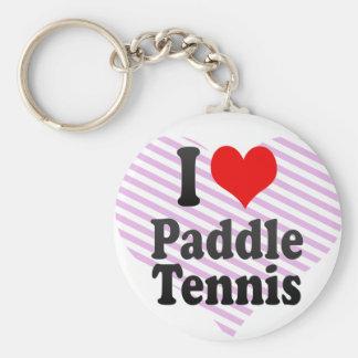 Amo tenis de la paleta llavero redondo tipo pin