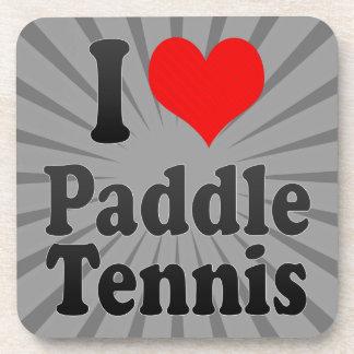 Amo tenis de la paleta posavasos de bebida