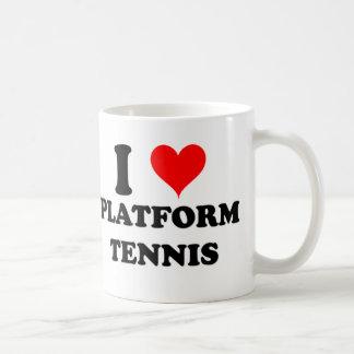 Amo tenis de la plataforma taza de café