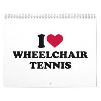 Amo tenis de la silla de ruedas calendario de pared