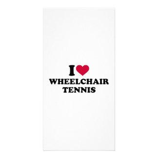 Amo tenis de la silla de ruedas tarjeta fotografica personalizada
