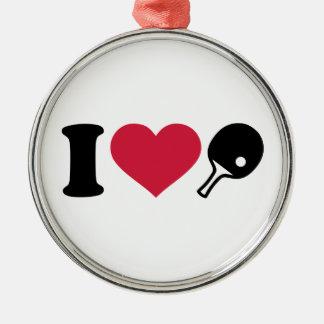 Amo tenis de mesa del ping-pong adorno navideño redondo de metal