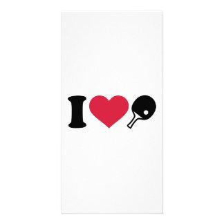 Amo tenis de mesa del ping-pong tarjetas personales con fotos