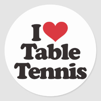 Amo tenis de mesa pegatina redonda