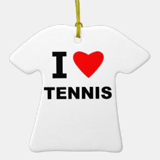 Amo tenis adorno de cerámica en forma de camiseta