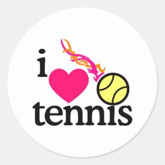 Amo tenis/la bola pegatina redonda