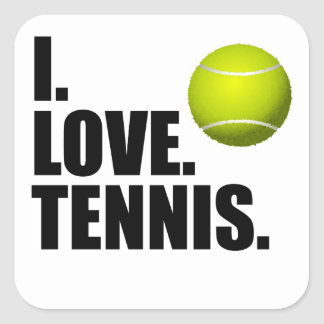 Amo tenis pegatina cuadrada