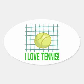 Amo tenis pegatina ovalada