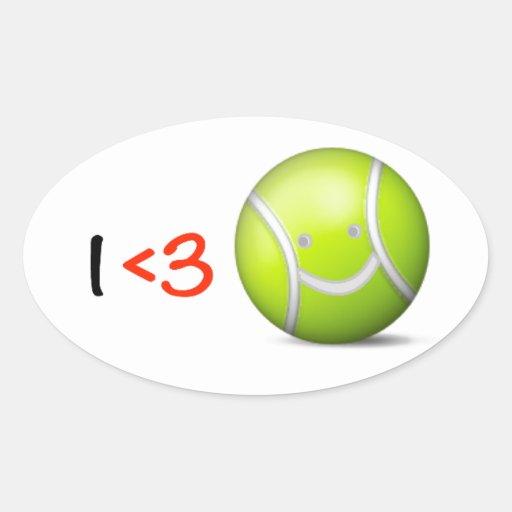 Amo tenis pegatinas de óval