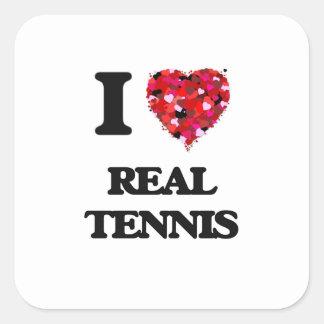 Amo tenis real pegatina cuadrada