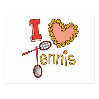 Amo tenis tarjeta postal