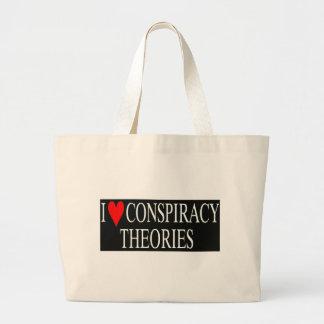 Amo teorías de conspiración bolsa de tela grande
