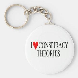 Amo teorías de conspiración llavero redondo tipo pin