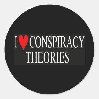 Amo teorías de conspiración pegatina redonda