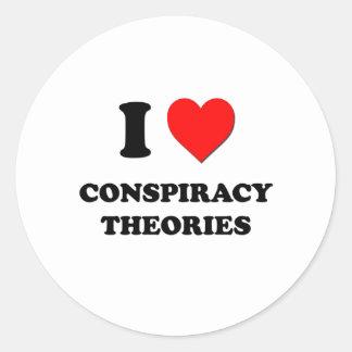 Amo teorías de conspiración etiqueta redonda