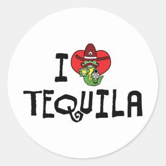 Amo Tequila del corazón Pegatina Redonda