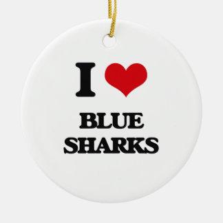 Amo tiburones azules ornaments para arbol de navidad