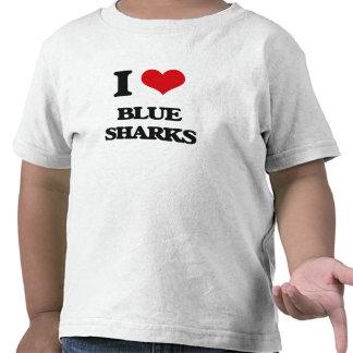Amo tiburones azules camiseta
