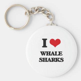 Amo tiburones de ballena llavero redondo tipo pin